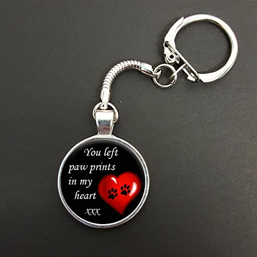 You Left Paw Prints In My Heart Pendant On A Snake Keyring Pet Memorial Gift N942 from Lisasgiftsforyou