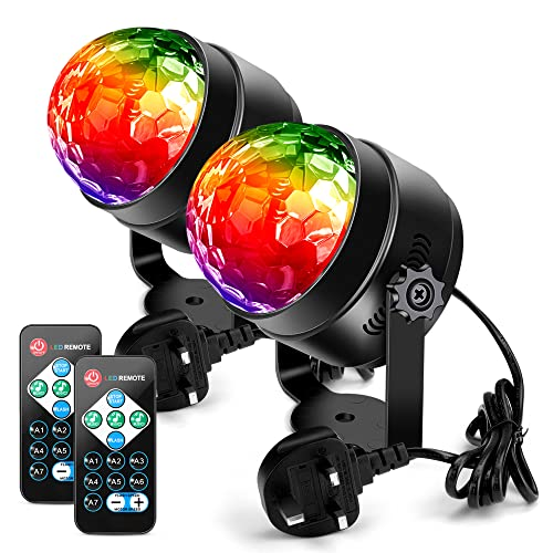 Litake Disco Ball, 2 Sets Remote Control DJ Lights 3W 7 Colours Strobe Light Sound Activated Party Lights For Xmas Party Pub Wedding Club Show from Litake