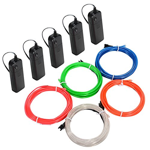 Litake EL Wire, 5x3m Neon Light Battery Powered Electroluminescent Wire Glowing Strobing Decorative Light for Xmas Party Pub from Litake