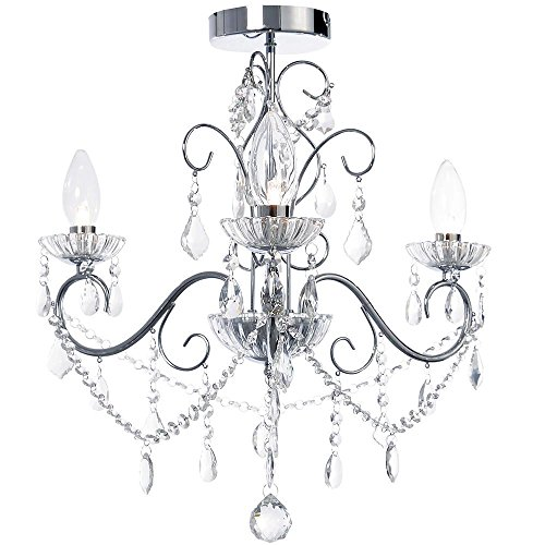 Vara 3 Light Bathroom Chandelier Curved Arm Ceiling Light Chrome Choose New or * Refurbished / Clearance Litecraft from Litecraft