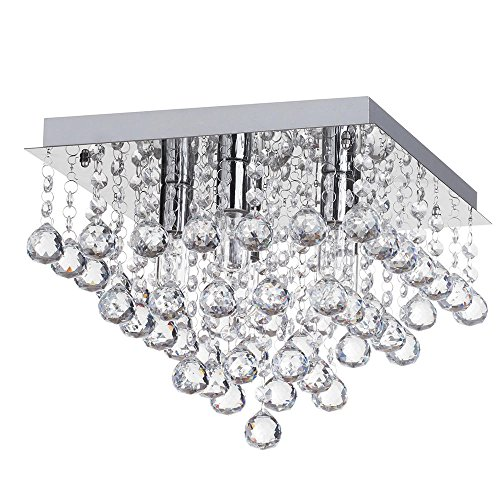 Litecraft Orlando Light Small Square Bathroom IP44 Rated Flush Mounted Ceiling Light in Chrome (5 Light) from LITECRAFT