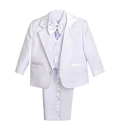 Lito Angels Baby Boy' 5 Pcs Set Formal Tuxedo Suits No Tail Dress Wear Baptism Christening Outfits Size 6-9 Months White from Lito Angels
