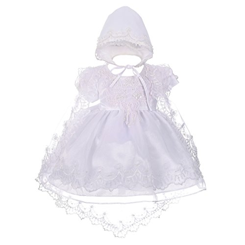 Lito Angels Baby Girls' Beaded Scalloped Embroideries Baptism Christening Gown Dress With Cape Bonnet Infant Size 12-18 Months White from Lito Angels