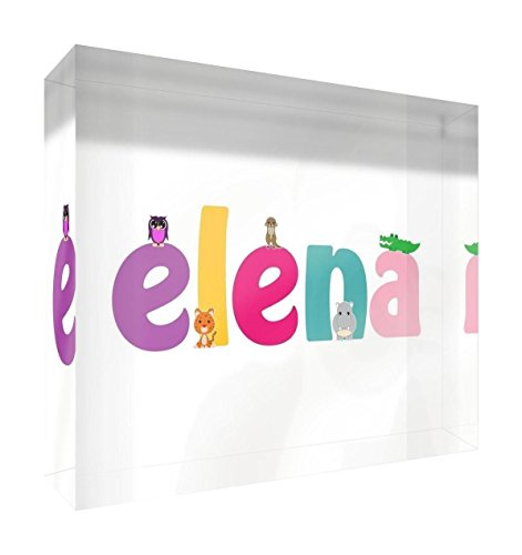 Little Helper Framed Box Canvas with Solid Wooden Surround in Cute Illustrative Design, Girl's Name (34 x 88 x 3 cm, Large, White, Ella) from Little Helper