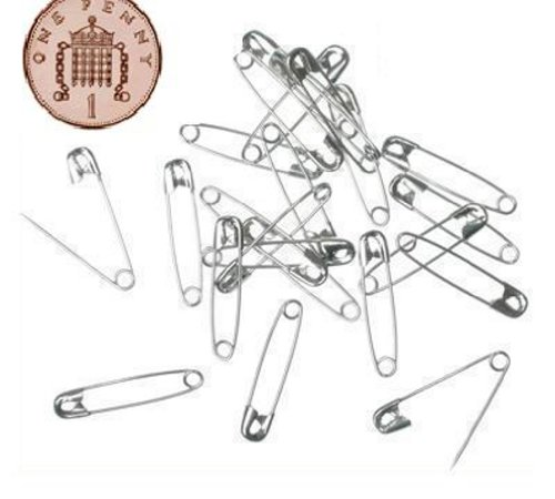 100 Small Tiny Metal Steel Mini Safety Pins 2cm 20mm Silver from Live-wire-direct