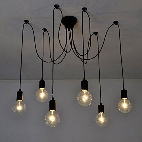 Lixada 6 Arms(Each with 1.7m Wire) Antique Classic Edison Lamp Shade Ajustable DIY Ceiling Spider Lamp Light E27 Retro Chandelier Pendant Dining Hall Bedroom Hotel from Lixada