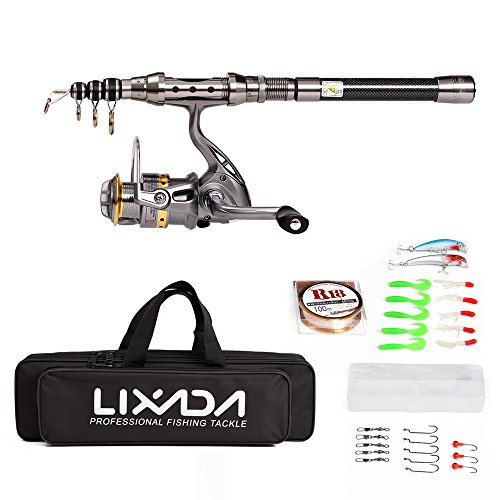 Lixada Telescopic Fishing Rod and Reel Combo Full Kit Spinning Fishing Reel Gear Pole Set with 100M Fishing Line,Fishing Lures,Fishing Hooks Jig Head, Fishing Carrier Bag Case from Lixada