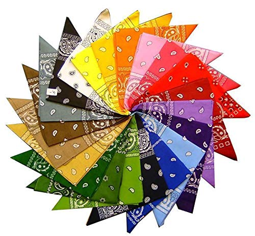 Pack of 12 Colourful Paisley Bandanas 100% Cotton Bandana Cowboy Dress Up Set by Lizzy® from Lizzy