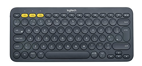 Logitech K380 Wireless Multi-Device Keyboard for Windows, Apple iOS, Apple TV android or Chrome, Bluetooth, Compact Space-Saving Design, PC/Mac/Laptop/Smartphone/Tablet, QWERTY UK Layout - Black from Logitech