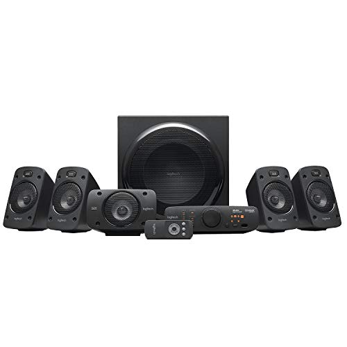 Logitech Z906 5.1 Surround Sound Speaker System, THX, Dolby & DTS Certified, 1000 Watts Peak Power, Multi -Device, Multiple Audio Inputs, Remote Control, PC/PS4/Xbox/Music Player/TV/Smartphone/Tablet from Logitech