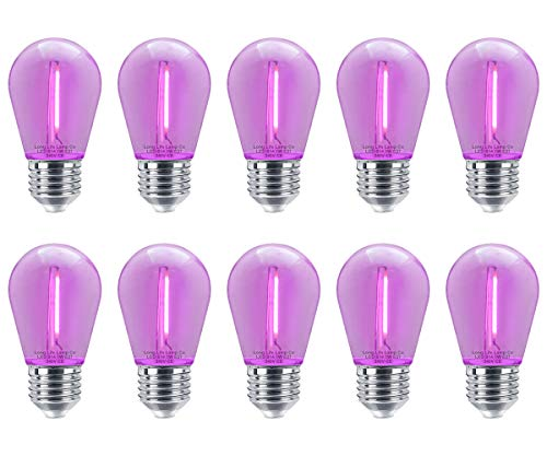 10 Pack 1w LED Coloured Lights Bulbs Clear Glass Edison Screw E27 Retro Vintage Filament Decorative and Festoon Lamps 8 Options (Purple) from Long Life Lamp Company