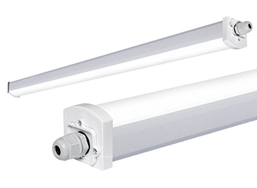 15W 3ft Industrial LED Batten Tube Light Surface Mount or Hanging IP Rated Triproof Fittng in Cool White T8 Fluorescent Replacement Ceiling Home or Commercial Use from Long Life Lamp Company