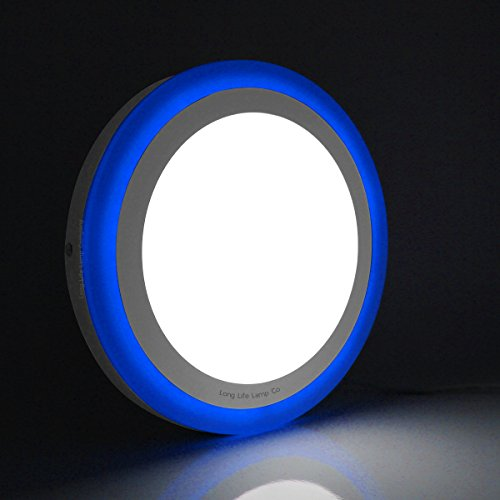 18w LED Novelty Ceiling Light Cool White with Blue Ambient Ring Surface Mount Easy Install from Long Life Lamp Company