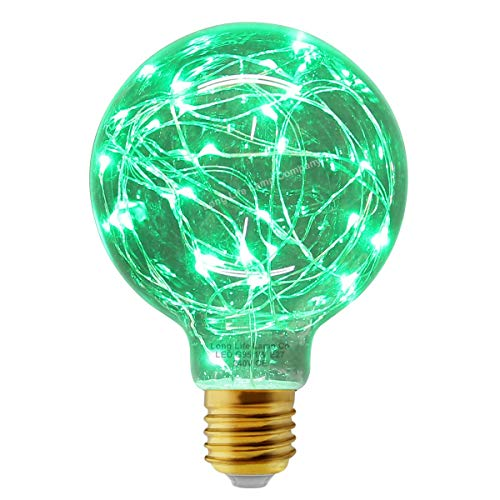 1w G95 Globe LED Industrial Decorative Light Bulb Coloured Fairy String Filament E27 (Green) from Long Life Lamp Company