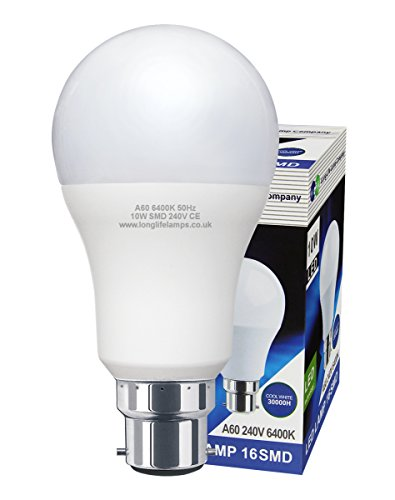 2 Pack 10w GLS LED Light Bulb Cool White B22 Bayonet Very Bright 10w = 100w A60 from Long Life Lamp Company