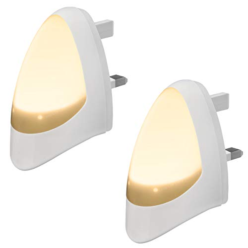 2 Pack LED Night Light Plug in Wall Automatic Dusk to Dawn Sensor Warm White Photocell Night Lamp Childrens Room Nurseries Hallway Staircase from Long Life Lamp Company
