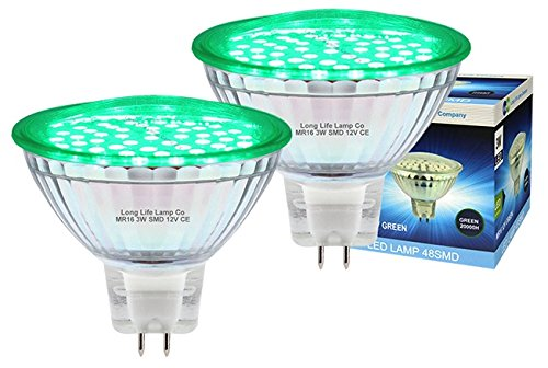 2 x 12v LED MR16 Green 3w Low Voltage Spot Light Bulb GU5.3 from Long Life Lamp Company
