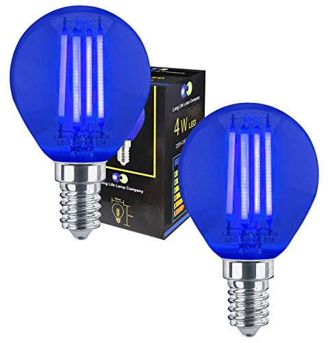 2 x Ambient 4w LED Golf Ball Blue Light Bulb E14 Clear Glass from Long Life Lamp Company