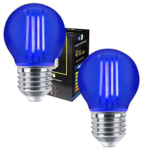 2 x Ambient 4w LED Golf Ball Blue Light Bulb E27 Edison Screw Clear Glass from Long Life Lamp Company