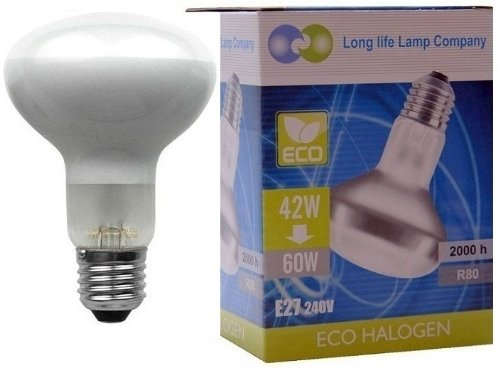 2 x Eco Energy Saving R80 Reflector Equivalent 60w Spot Light Bulb ES E27 Screw Fit Halogen Eco 42w = 60W Long Life Lamp Company from Long Life Lamp Company