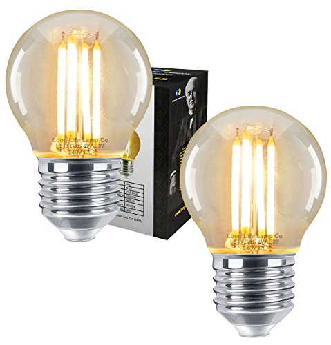 2 x Filament Vintage 4w LED Golf Ball Light Bulb E27 Edison Screw Clear Glass from Long Life Lamp Company