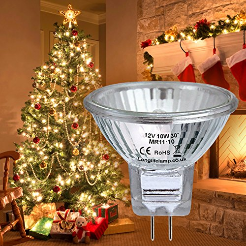 2 x MR11 10w 12v Fibre Optic Christmas Tree Halogen Bulb 35mm Low Voltage from Long Life Lamp Company