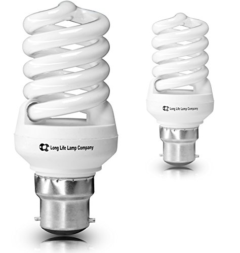 2 x Mini Energy Saving Spiral 20w (100w Equivalent) B22 Light Bulb from Long Life Lamp Company
