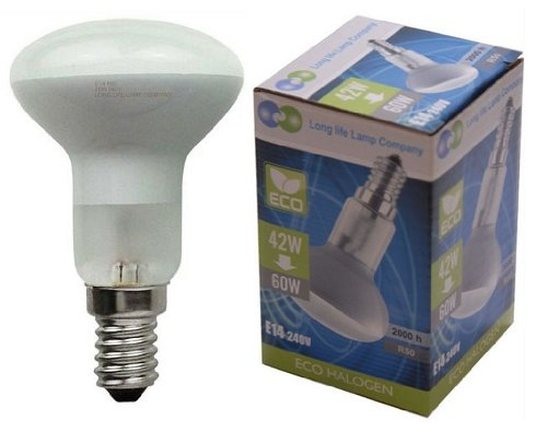 2 x R50 Reflector Halogen Energy Saving 42w Equivalent 60w Dimmable light bulbs E14 Edison SES by Long Life Lamp Company from Long Life Lamp Company