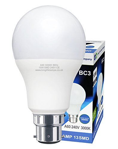 3 Pin BC3 Light Bulb LED 10w Energy Saving Non Dimmable 240v 3000k Warm White High Brightness from Long Life Lamp Company
