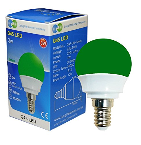3W Green LED Golf Ball E14 Small Edison Screw with New Technology Mini Globe Golfball from Long Life Lamp Company