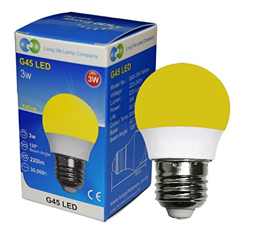 3W Yellow LED Golf Ball E27 Edison Screw Cap with New Technology Mini Globe Golfball from Long Life Lamp Company