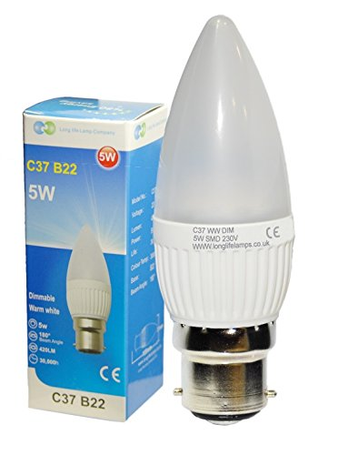 4 x 5W Dimmable LED Candle Light Bulb B22 Bayonet Beautiful Warm White Colour Frosted Candle, 40w replacement for Incandescent Bulb Chandeliers Wall Lights PACK of 4 from Long Life Lamp Company