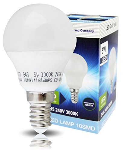 4 x 5w LED Golf Ball Warm White E14 Small Edison Screw Light Bulb with New Technology Frosted Cover 3000k from Long Life Lamp Company