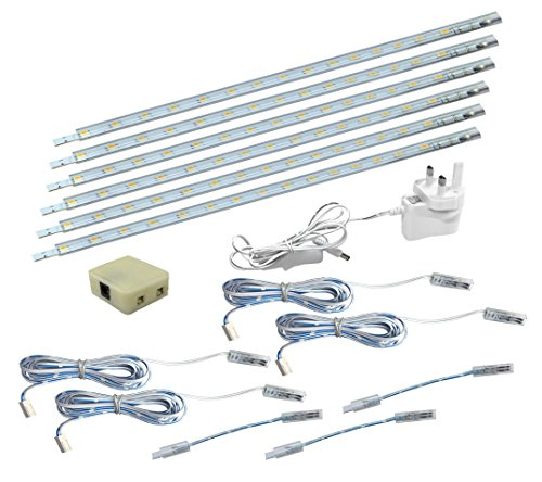 6 x 30cm Plug in LED Warm White Under Kitchen Cupboard Cabinet Strip Lights from Long Life Lamp Company