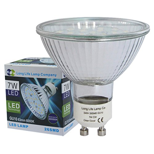 63mm GU10 LED 7w Replacment for 63mm Halogen Bulb 26SMD 650 Lumens Cool White from Long Life Lamp Company