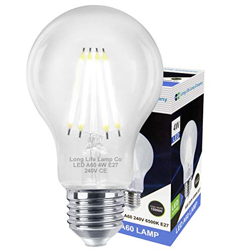 Filament 4w LED Light Bulb Cool White E27 ES Edison Screw Clear Glass A60 Energy Saving Replacement for Tungsten Halogen from Long Life Lamp Company