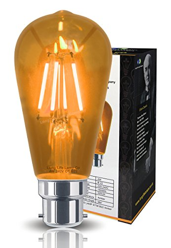 Ambient 4w Vintage LED Filament Amber Light Bulb B22 Clear Glass ST58 from Long Life Lamp Company