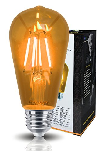 Ambient 4w Vintage LED Filament Amber Light Bulb E27 Clear Glass ST58 from Long Life Lamp Company