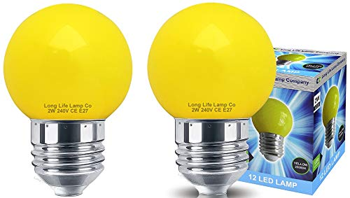 Decor 2w LED Coloured Mini Golf Ball Light Bulb Yellow E27 Edison Screw Fitting from Long Life Lamp Company
