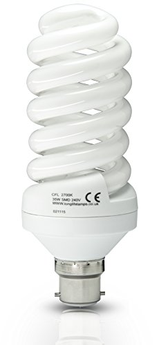 Energy Saving Spiral Compact Fluorescent Light Bulb 35W B22 Bayonet T4 Technology Warm White 175w Equivalent from Long Life Lamp Company