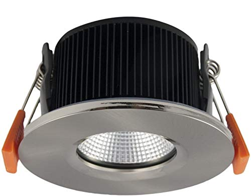 LED Fire Rated and IP65 Downlight Recessed Ceiling Spotlight 6W Equivalent 50W Stainless Steel Warm White 3000K COB 30000 Hours 90 Minutes Fire Rated from Long Life Lamp Company