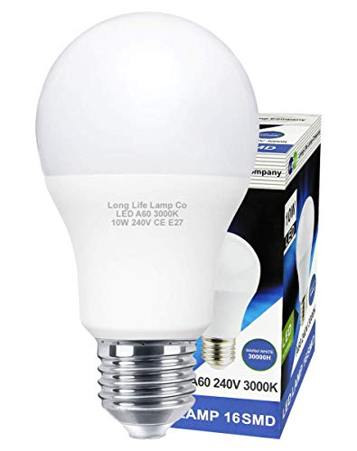 Long Life Lamp Company E27 Edison Screw 10 W LED Light Bulb A60 GLS - Warm White from Long Life Lamp Company