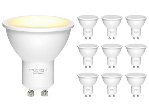 Long Life Lamp Company 10 Pack GU10 6 W LED Beautiful Warm White Colour 50 W Replacement for Halogen Bulb, Glass/Hallogen from Long Life Lamp Company