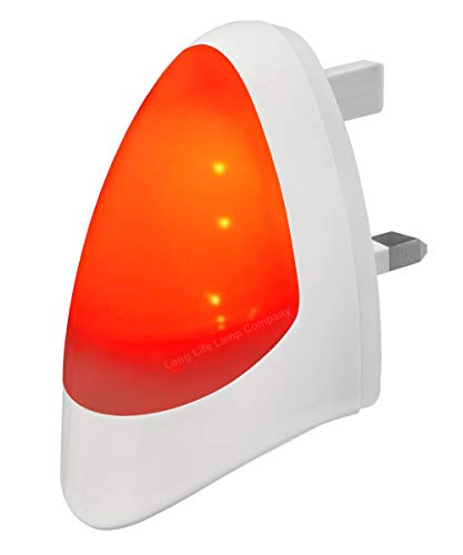 RED Automatic LED Night Light Dusk 2 Dawn LED Sensitive, White, Plug in from Long Life Lamp Company