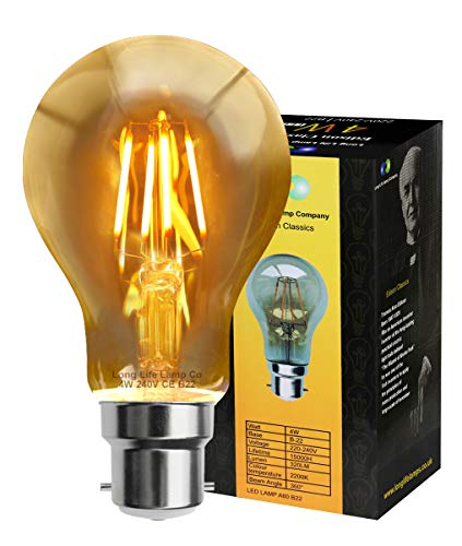 Retro Vintage LED 4w Edison Style Filament Bulb Smoked Gold Glass A60 B22 Bayonet from Long Life Lamp Company