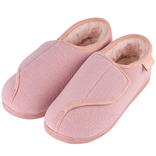 LongBay Women's Furry Memory Foam Diabetic Slippers Comfy Cozy Arthritis Edema House Shoes Pink 5 UK from LongBay