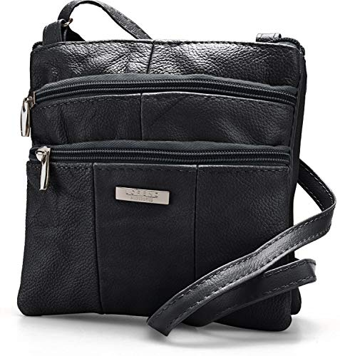 Lorenz Ladies Small Genuine Soft Leather Cross Body / Shoulder Bag (1) # 1941 - Black from Lorenz