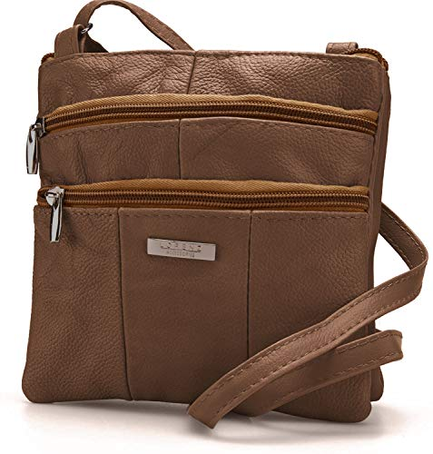 Lorenz Ladies Small Genuine Soft Leather Cross Body / Shoulder Bag (1) # 1941 - Brown from Lorenz