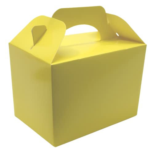 15 x Children/Kids Plain Coloured Party Boxes Carry Food Meal Birthday Party Box Loot Bag Gift Boxes (Yellow) from Lotus