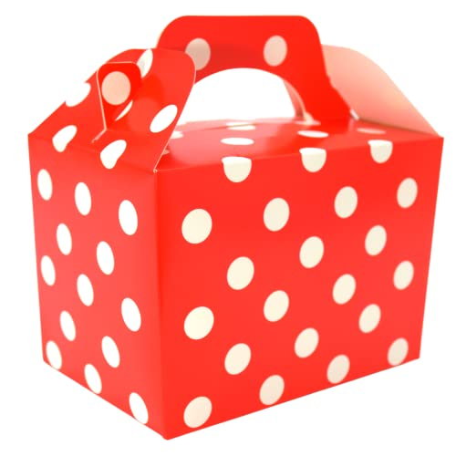 20 x Polka Dots Spotty Children/Kids Party Boxes Carry Food Meal Fun Picnic Birthday Wedding Favour / Baby Shower Party Box Loot Bag (Red) from Lotus